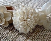 Floral Napkin Rings with Burlap- set of six