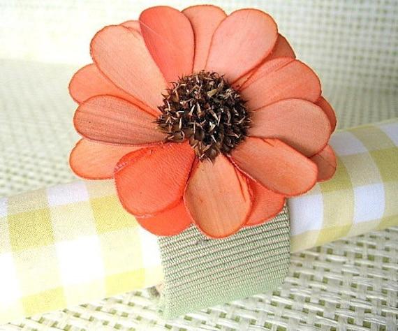 Garden Flower Napkin Rings - set of four