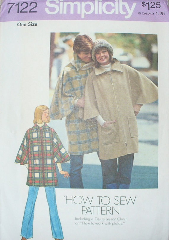 Vintage Simplicity 7122 Misses Poncho One Size