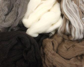 Finnish Wool Sampler - Undyed Roving for Spinning or Felting (10oz)