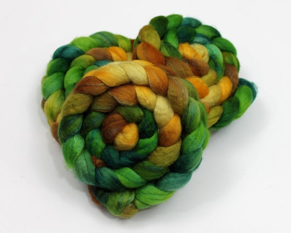 BFL Wool/ Silk Roving - Handpainted Spinning or Felting Fiber