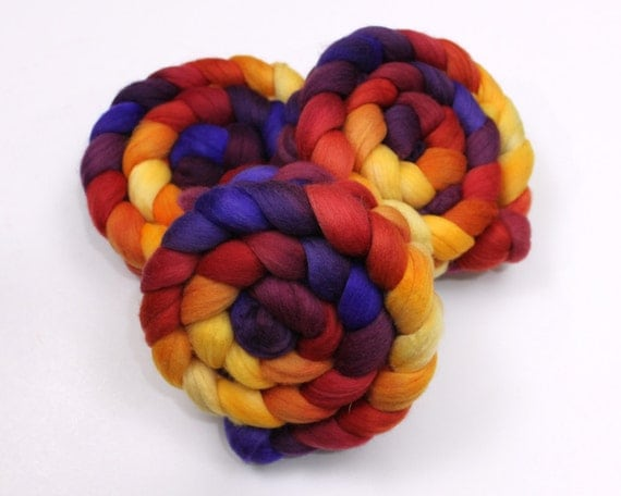 Polwarth Wool - Handpainted Roving for Spinning or Felting