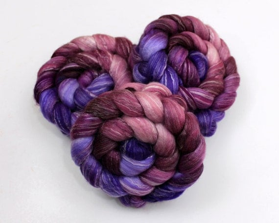 Merino Wool/ Bamboo/ Silk Roving - Handpainted Spinning Fiber