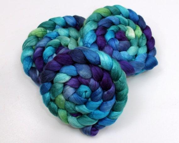 Merino Wool/ Silk Roving - Handpainted Fiber for Spinning