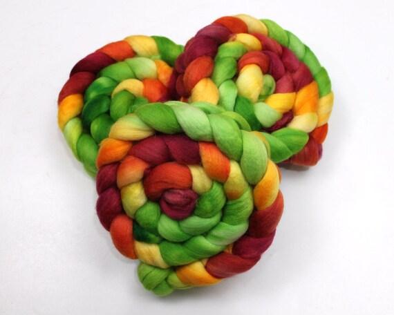 Polwarth Wool / Silk Roving - Hand painted Felting or Spinning Fiber