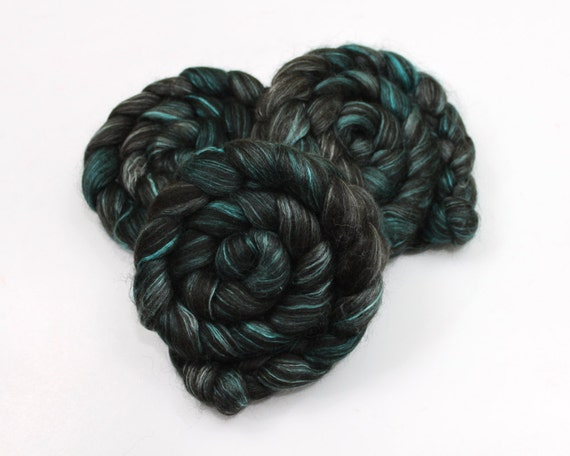 RESERVED Black Alpaca/ Cultivated Silk Roving - Hand Painted Roving for Spinning or Felting