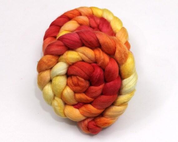Merino/ Silk/ Sparkle - Handpainted Roving for Spinning or Felting