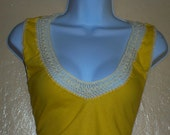 Beautiful Custom Designed Crochet-Accented Women's Top - YELLOW and BEIGE New Design FOR THE YOUNG AND THE YOUNG AT HEART
