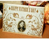 lizzie borden father's day card: old world parchment paper card w/ macabre design - for those with decidedly complicated relationships