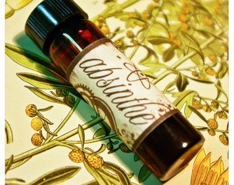 absinthe - natural perfume oil in aroma of ravensara, honeysuckle, sage and anise - in 1/2 oz amber apothecary bottle