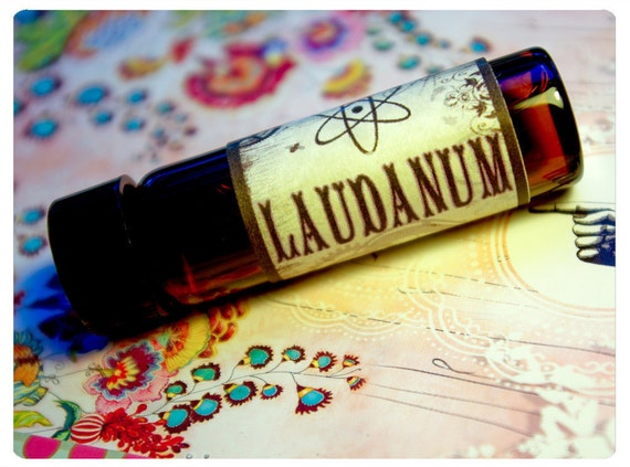 laudanum - natural perfume oil of apricot and ivy in 1/2 oz  amber glass apothecary bottle