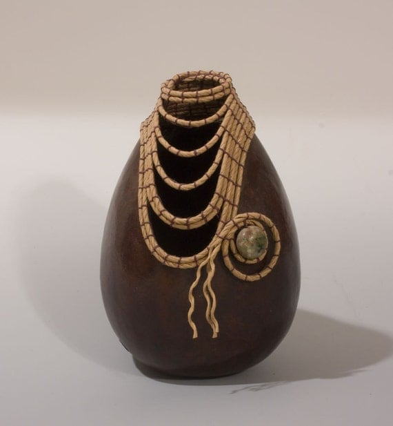Brown Oval Gourd with Coiled Rim and Stone