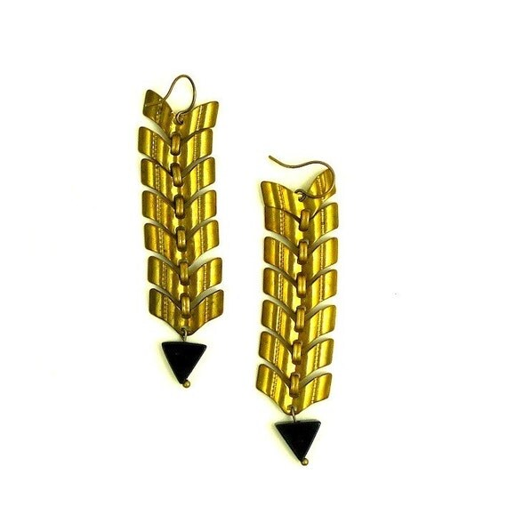 golden brass fishspine earrings with triangle bead
