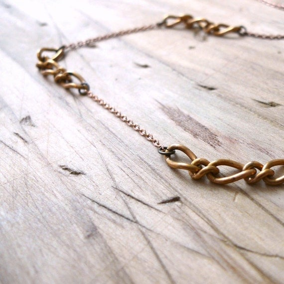 vintage gold mixed chain necklace