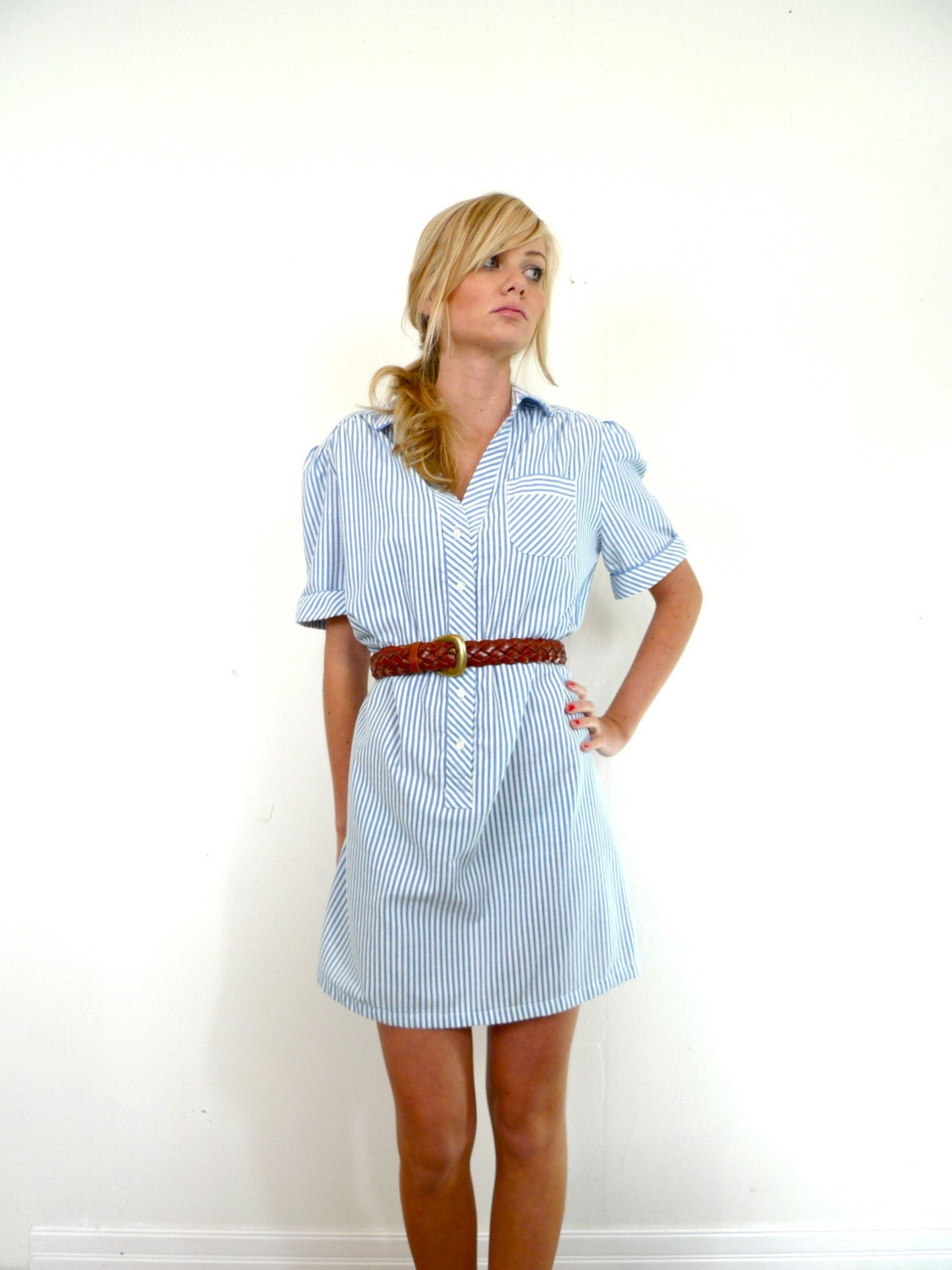 Vintage blue and white seersucker shirt dress with leather for Classic white dress shirt