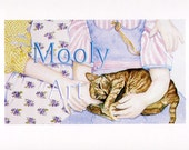 Brown Tabby with Little Girls in Sisters Note Card Blank 4 x 5 From Original Watercolor Painting