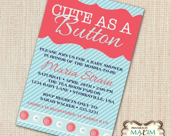DIY Printable Invitation - Baby Shower Invitation, Cut As A Button Invitation...by Maxim Creative Invites