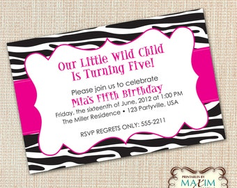 DIY Printable Invitation - Zebra Invitation, Zebra Birthday Invitation, Wild Child...by Maxim Creative Invites