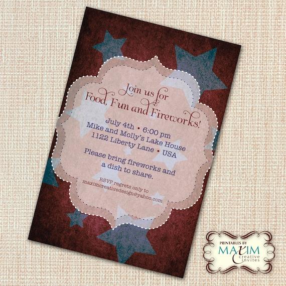 DIY Printable Invitation - 4th of July Invitation, Engagement Party, BBQ invitation, Vintage Star Invitation, Rehearsal Dinner Invitation