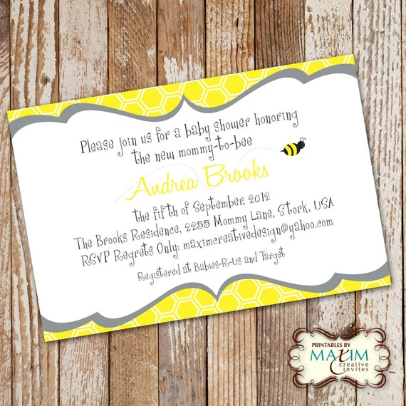 DIY Printable Invitation - Baby Shower Invitation, Party Invitation, Bee Baby Shower, Mommy to Bee Shower