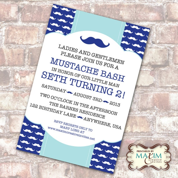 Mustache Party invitation
