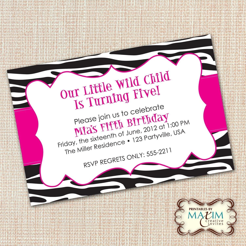 DIY Printable Invitation Zebra Invitation Zebra Birthday