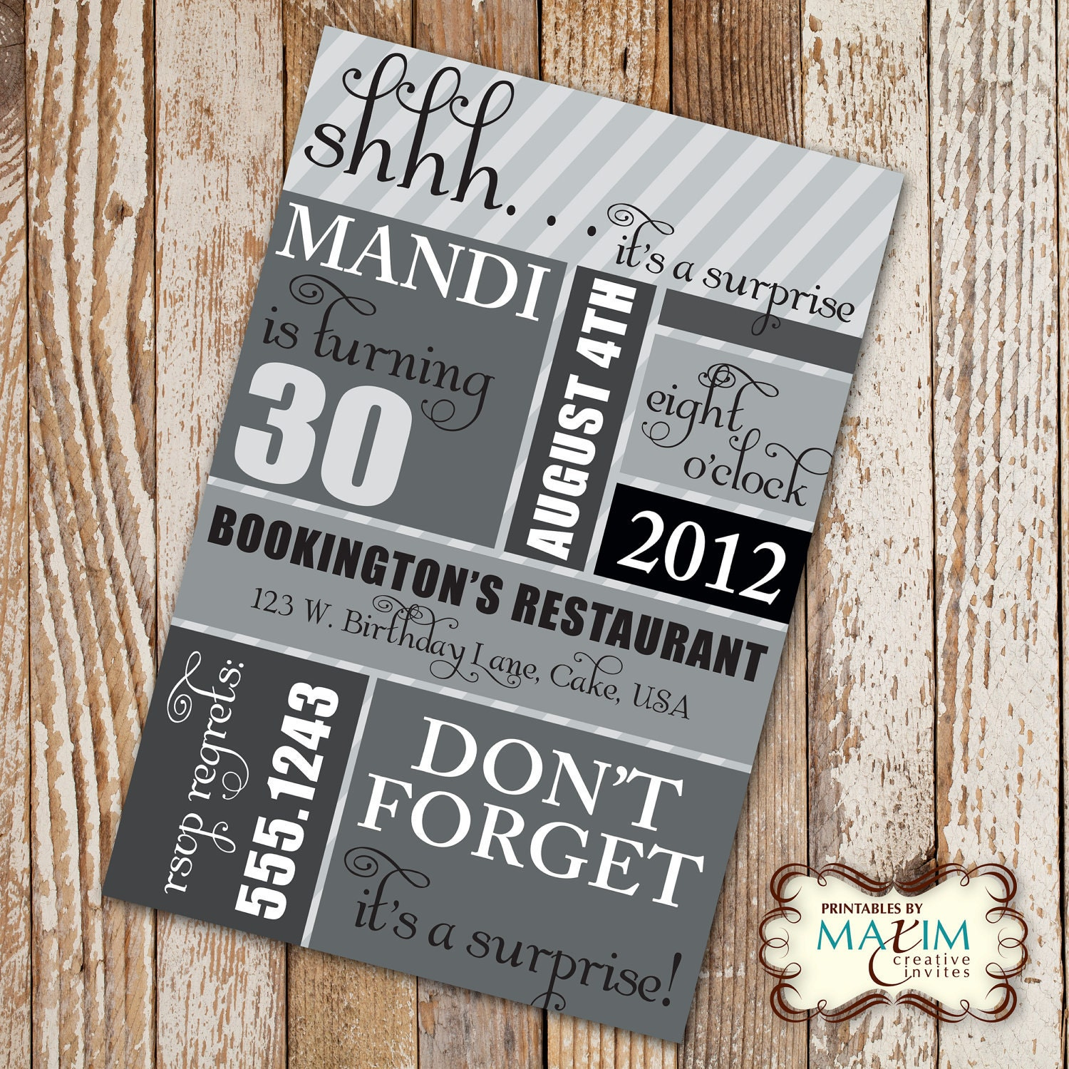 DIY Printable Invitation Surprise Birthday Party Birthday