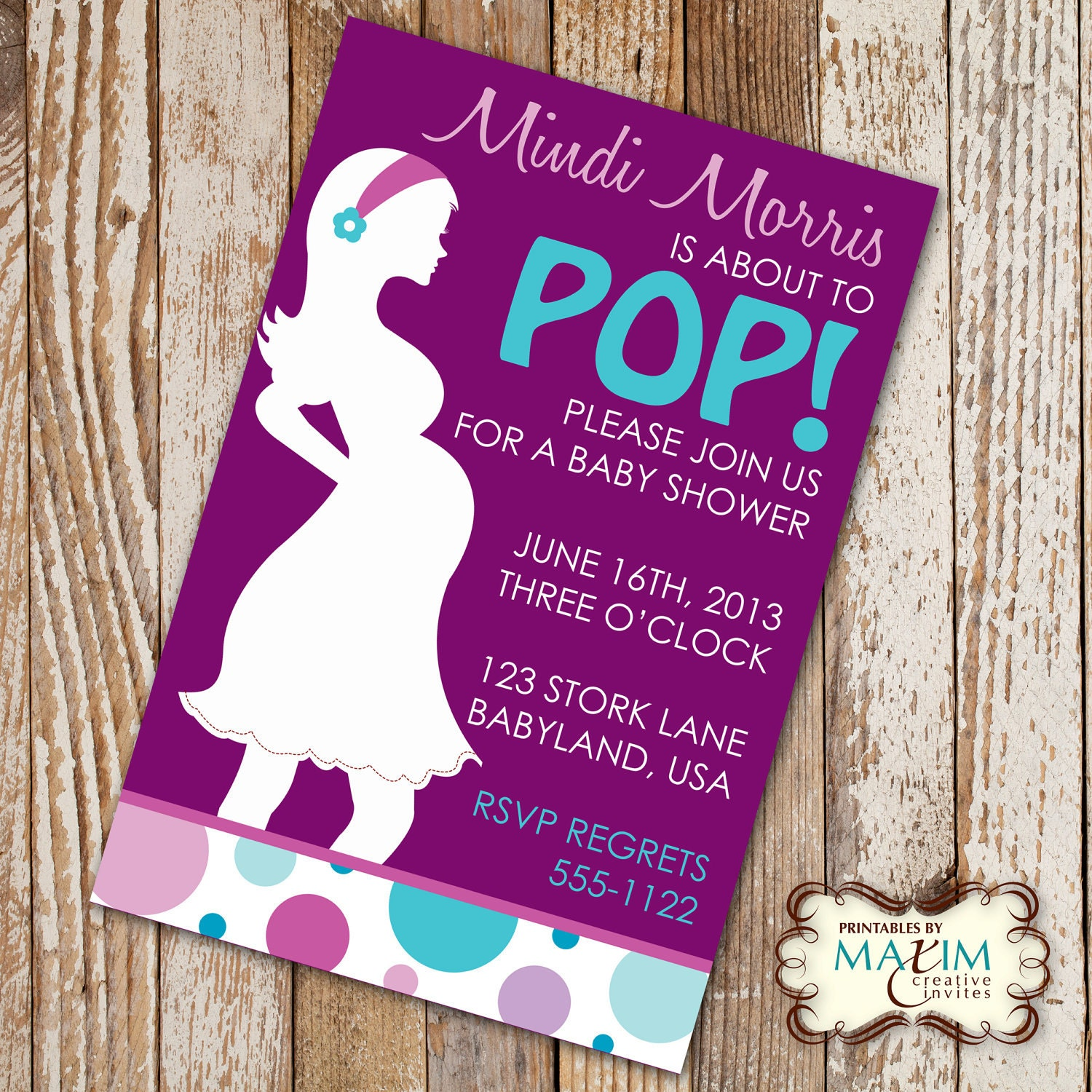 DIY Printable Invitation She's About To POP Baby Shower