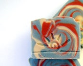 NAG CHAMPA - Cold Process Soap Bar / Beautiful Homemade Soap / red white blue - SoapForYourSoul