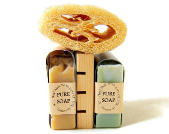 Bathroom Home Soap Set / Fall Decor /  Two Soaps and a reclaimed wood deck / Handmade Soaps
