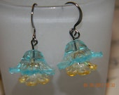 Bright Blue and Yellow Flower Earrings