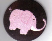 Wood Pendant with Pink Elephant