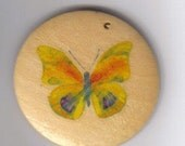 Wood Pendant with Yellow Butterfly