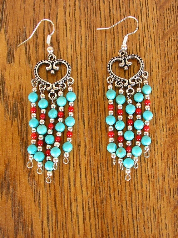 FREE SHIPPING - Turquoise and Coral Heart Chandelier Earrings