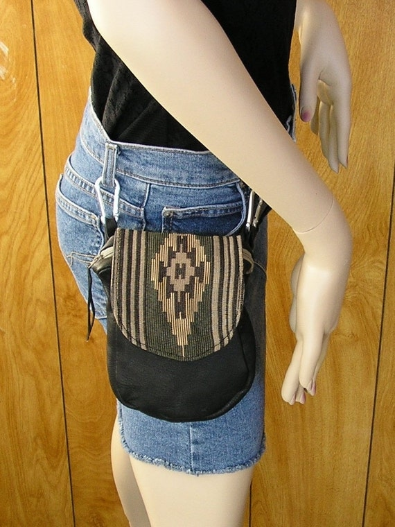 FREE SHIPPING - Clip on belt bag in black leather with tapestry flap