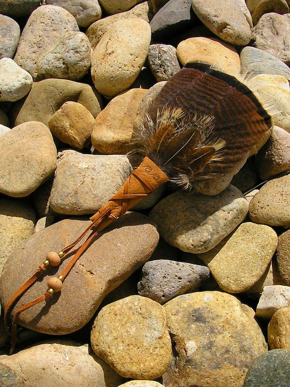 "FREE SHIPPING - Turkey Feather Fan for smudging 8"" long wrapped in deerskin leather with clay beads"
