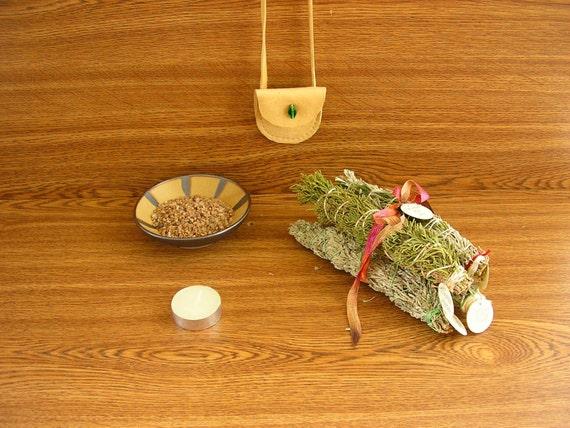 Smudging Kit, includes a Gold stoneware smudge bowl,  four smudge bundles, Granite sand, a Medicine Bag and a candle (SB2)