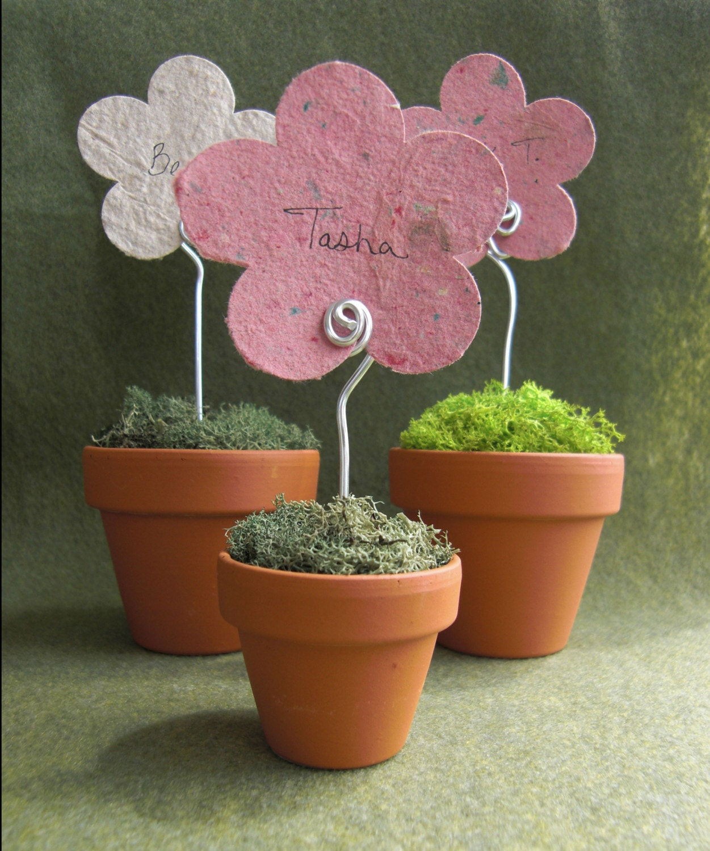 mini flower pot place card holder