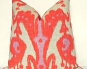 Pillow Cover, Decorative Pillow, Throw Pillow, Toss Pillow, Sofa Pillow, Orange Ikat, Coral Ikat, 17x17 inch, Home Furnishing, Home Decor