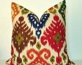 Pillow Cover - Throw Pillow - Toss Pillow - Sofa Pillow - Ikat - 17x17 inch - Red - Green - Blue