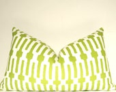 Green Pillow, Handmade Pillow, Pillow Cover, Decorative Pillow, Lumbar Pillow, Throw Pillow, Citrus Links,  Home Furnishing