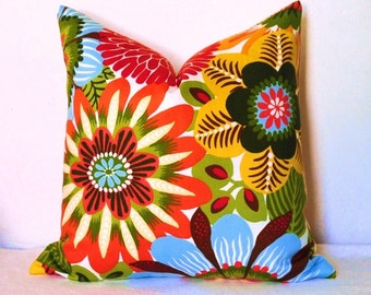 Designer Fabric Pillow, Floral Pillow, Decorative Pillow, Robert Allen, Dahlia, Chrysanthemum, Daisy, Throw Pillow, Toss Pillow,