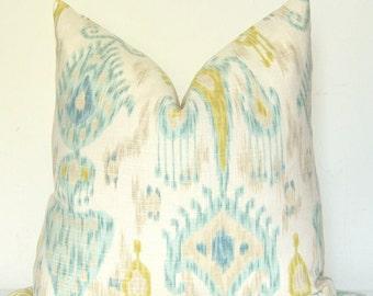 Ikat Pillow Cover, Throw Pillow, Decorative Pillow, Sofa Pillow, Robert Allen, Chartreuse Ikat, Blue Ikat, Home Furnishing, Home Decor