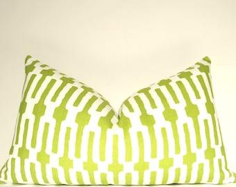 Green Pillow, Handmade Pillow, Pillow Cover, Decorative Pillow, Lumbar Pillow, Throw Pillow, Citrus Links,  Home Furnishing