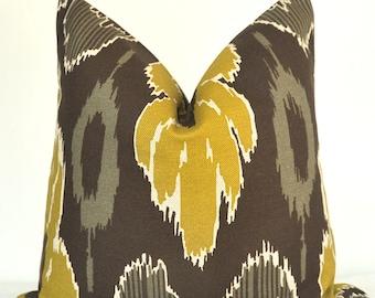 Pillow Cover, Decorative Pillow, Throw Pillow, Toss Pillow, Chartreuse Ikat, Browk Ikat, 17x17 inch, Home Furnishing, Home Decor