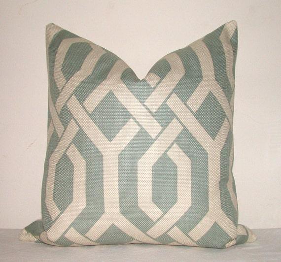 Decorative Pillow Cover - P Kaufmann - 16x16 inches - Fretwork - Geometric - Blue - Beige - Throw Pillow - Accent Pillow - Toss Pillow