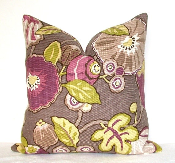 Set of Two - Decorative Pillow Covers - P Kaufmann - Floral - 17x17 inches - Chartreuse - Mauve - Plum - Throw Pillows - Sofa Pillows