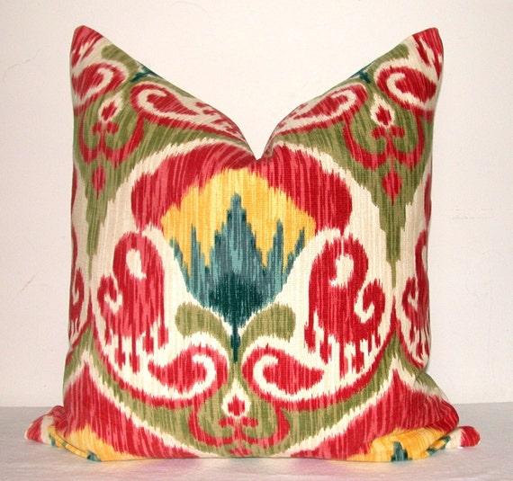 Decorative Pillow - Designer Fabric - Ikat - Cotton Chenille - 20x20 inches - Bohemian - Red - Yellow - Green - Peacock Blues - Ivory - Throw Pillow - Sofa Pillow - Toss Pillow