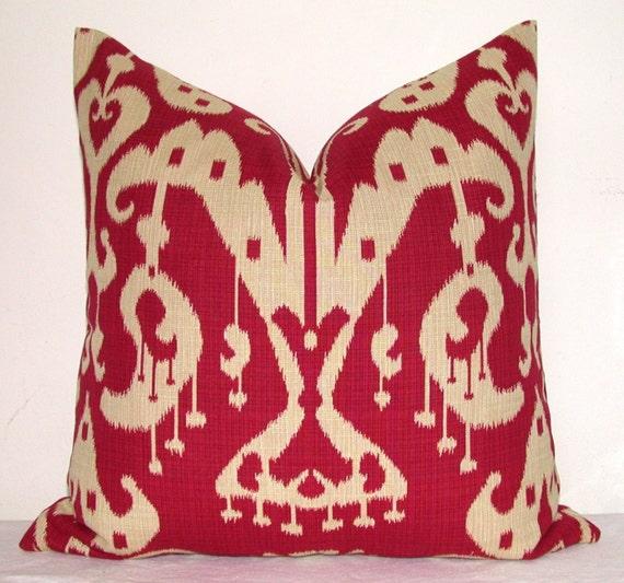 Pillow Cover - Decorative Pillow - Throw Pillow - Toss Pillow - Sofa Pillow - Ikat - Red - Tan - 20x20 or 22x22 inch - Jacquard