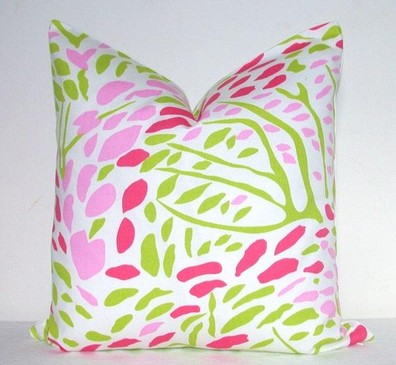 Pillow Cover -Decorative Pillow - Sofa Pillow - Throw Pillow - Toss Pillow - Annie Selke - Fuchsia - Pink - Green - 17x17 inch